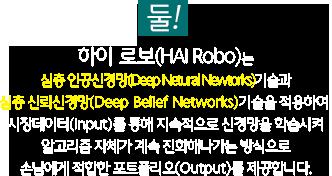 하이 로보(HAI Robo)는 심층 인공신경망(Deep Netural Newtorks)기술과 심층 신뢰 신경망(Deep Belief Networks)기술을 적용하여,시장데이터(Input)를 통해 지속적으로 신경망을 학습시켜 알고리즘 자체가 계속 진화해나가는 방식으로 고객에게 최적 포트폴리오(Output)를 제공합니다.