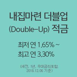 내집마련 더블업(Double-Up) 적금 최저 연1.50% ~ 최고 연3.30% (세전, 1년, 우대금리포함, 2018.12.06 기준)
