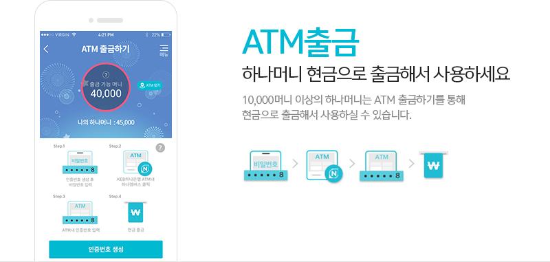 'ATM출금' 하나머니 현금으로 출금해서 사용하세요 10,000머니 이상의 하나머니는 ATM 출금하기를 통해 현금으로 출금해서 사용하실 수 있습니다.