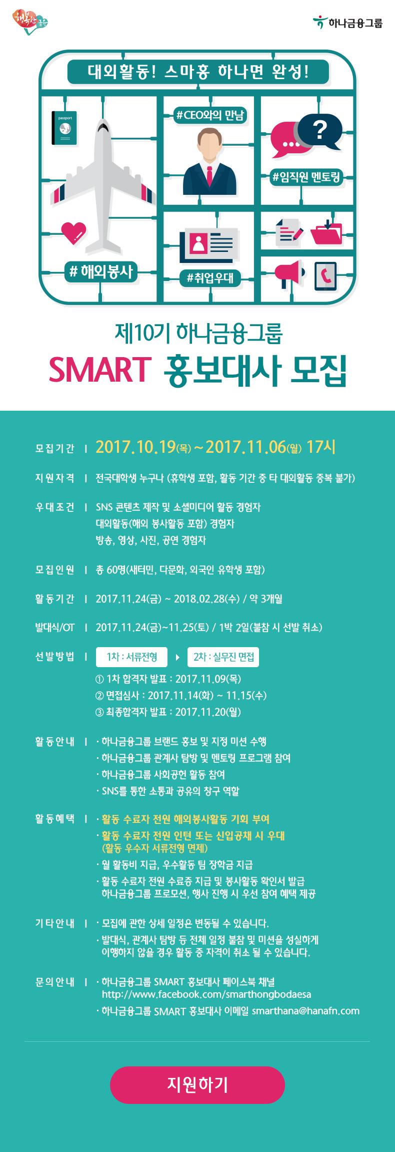 제10기 하나금융그룹 SMART홍보대사 모집
