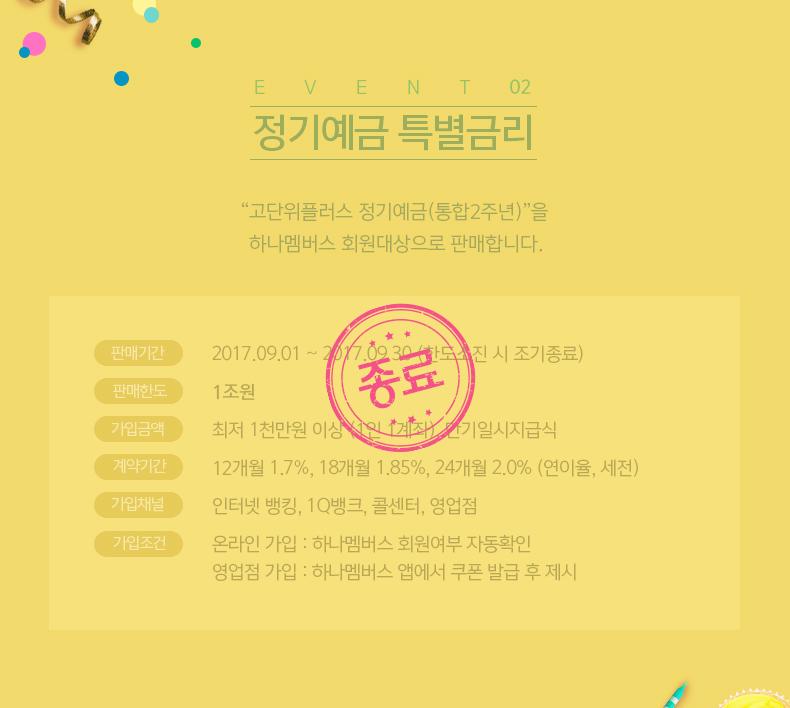 "EVENT02 정기예금 특별금리  ""고단위플러스 정기예금(통합2주년)""을 하나멤버스 회원대상으로 판매합니다."