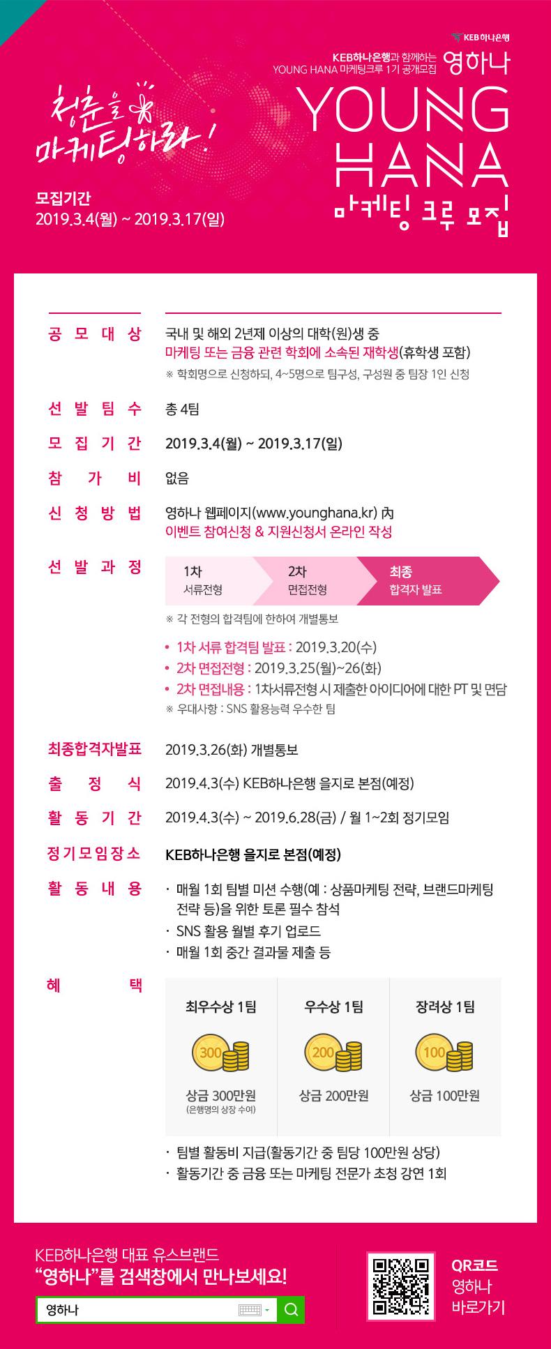 청춘을 마케팅하라! 모집기간 2019.3.4(월) ~ 2019.3.17(일)